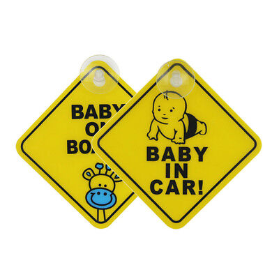 Baby On Board Car Warning Safety Suction Cup Sticker Waterproof Notice Board All