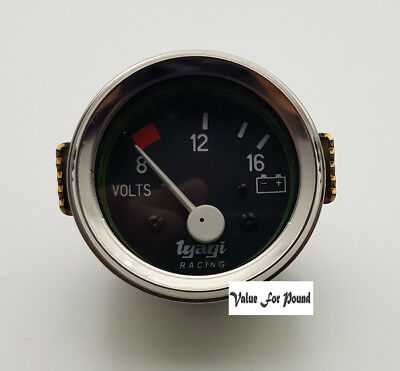52Mm Voltage Meter 8-12-16 12V With Chrome Bezzle