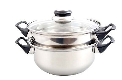 3PC Food Steamer Pot Pan Cooker 20cm with lid 2 Tier Stainless Steel Set Healthy