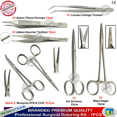 7PCS Basic Suturing Practice Kit Mosquito Forceps Tissue Tweezers Iris Scissors