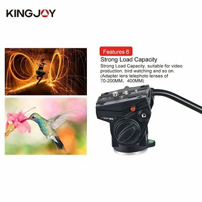 KINGJOY VT-3510 Video Camera Tripod Action Fluid Drag Head for DSLR Camera GZ