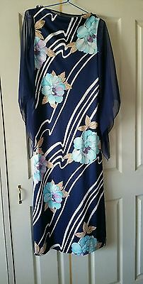Vintage blue floral maxi style long gown sheer detailing 1970s sz 16