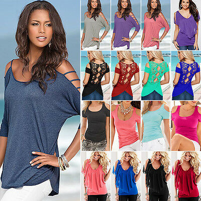 UK Womens Cold Shoulder T Shirt Tops Short Sleeve Summer Casual Tee Loose Blouse