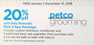 3 PETCO PALS Rewards Coupons : 20% off Petco Dog Grooming - Pick 3 Spa  Package