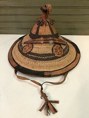 Vintage  African Fulani Wadaabe Straw Leather Cattle Hat Conical Woven Wodaabe