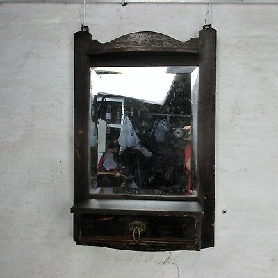Hand Carved Oak Medicine Wall Cabinet Apothecary Beveled Glass Mirror Drawer