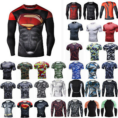 Mens Marvel Superhero Compression T-Shirt Running Fitness Muscle Base Layer Top