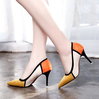 Fashion Color Matching Pointed Toe Women High Heels Shoes Thin Heels Shoes WL