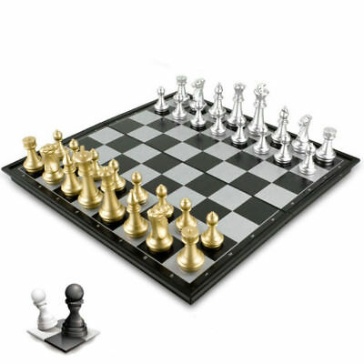 iBaseToy Magnetic Chess Checkers Backgammon Set Portable Chess Board Chess Game