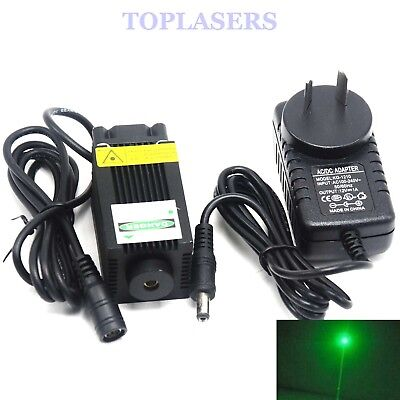 Powerful 100mW 532nm Green Laser Diode Module Dot Lights w/ 12V Adapter 33x55mm