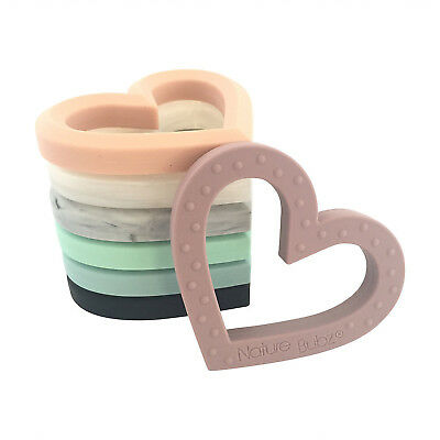 Nature Bubz Adore Heart Silicone Teether - Assorted Colours