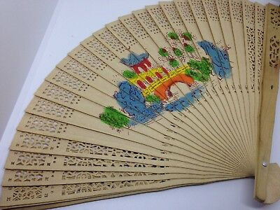 Vintage Hand Painted Chinese Fan In Original Box