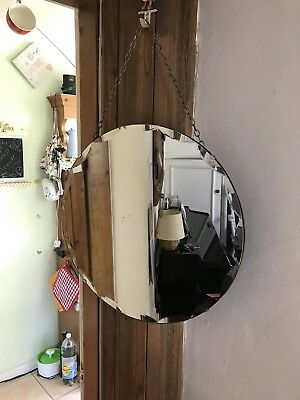 Round Mirror Vintage Art Deco Round Frameless Scalloped Edge Mirror 50.5cm Edge