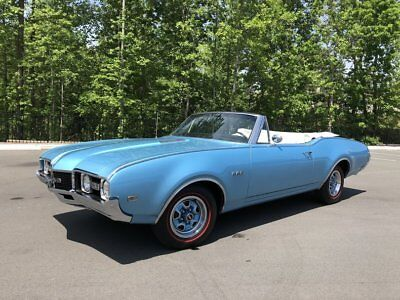 Oldsmobile 442  1968 Oldsmobile 442 Convertible Factory A/C Blue Restored Gorgeous