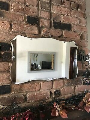vintage Mirror art deco beveled edged frameless wall mirror with Original chain