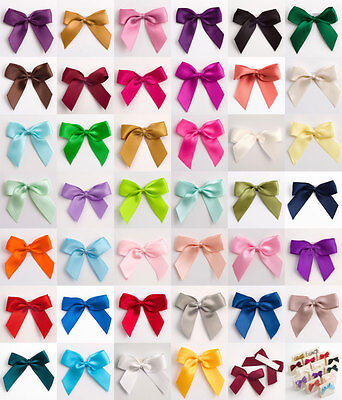12 Pack Self Adhesive Large 5cm Pre Tied Satin Bows Ribbon Craft