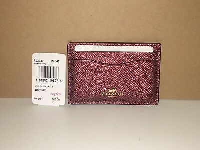 Coach SV/Metallic Cherry Crossgrain Leather Card Case #F23339  - NWT