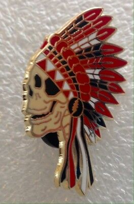 Native American Indian head dress Grateful Dead Skull Pin Red Black