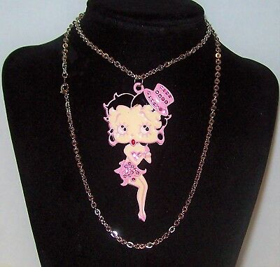 "Rare Articulated Betty Boop Doll Necklace Pink Enamel Rhinestone Big 3"" Kitsch"