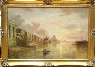 Large Early 20th Century London River Thames St Paula Cathedral Landscape