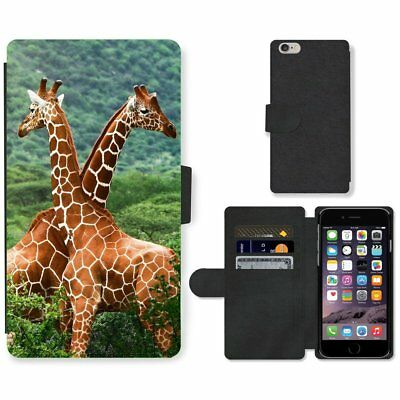 Phone Card Slot PU Leather Wallet Case For Apple iPhone Pair of giraffes dancing