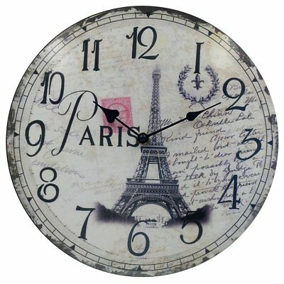 Eiffel Tower Round Wall Clocks Decorative Vintage /  Country / French Style