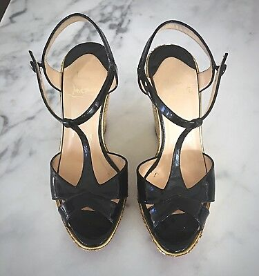 100% Authentic, very Rare Vintage Louboutin Black and Gold Wedge Sandals 36