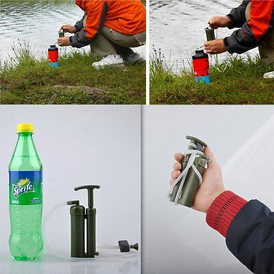 Portable Outdoor Water Filter Purify Pump Outdoor Survival Hiking Camping Lot NT