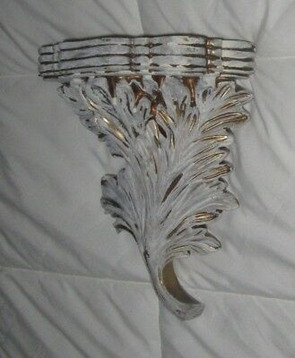 Distressed White Gold Wall Shelf Acanthus Leaf Corbel Sconce Shabby Decor