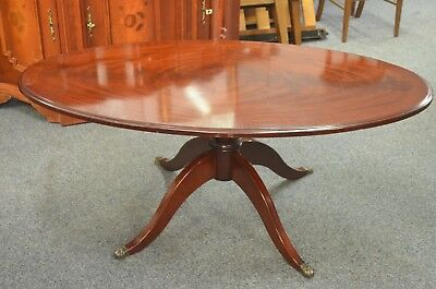 Regency Style Oval Mahogany Colour Pedestal Coffee Table with Claw Feet
