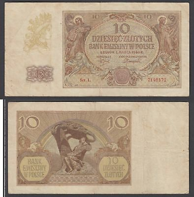 Poland 10 Zlotych 1940 (F-VF) Condition Banknote KM #94