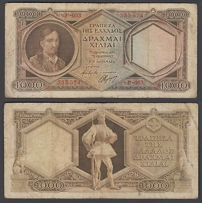 Greece 1000 Drachmai ND 1944 (F) Condition Banknote P-172