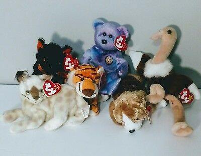 Beanie Babies Mix Lot x6 Collectables Collection Stuffed Animals Plushies Plushy