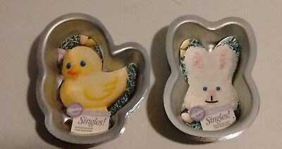 Lot of 8 Easter Bunny & Chick Singles Wilton Cake Pans #2105-1142 & 1143 - NEW