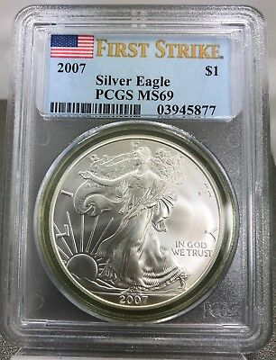 2007 1 oz American Silver Eagle PCGS MS69 First Strike .999 Fine Silver