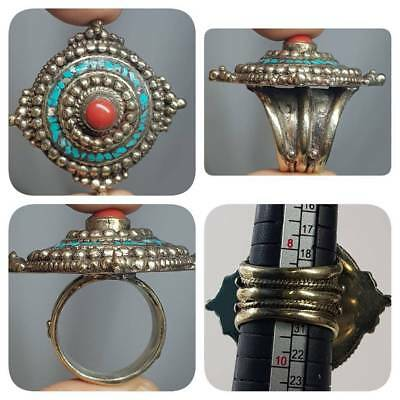 Wonderful Old Morocco Coral & Turquoise Stone Stunning ring   # L2