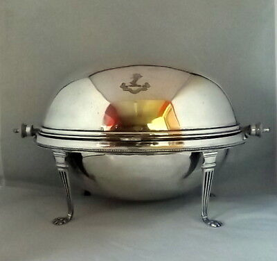 Victorian Silver Plated Roll Top Serving Dish C1890 (Gordon Family Crest)