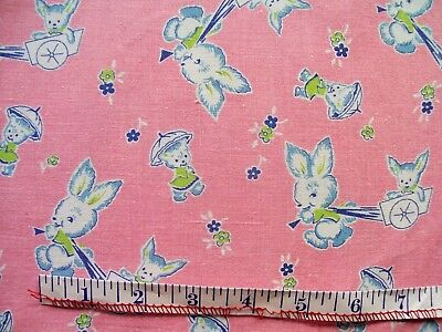 NoveltyFeed Sack: Mother With Baby Rabbits in Carts on Pink