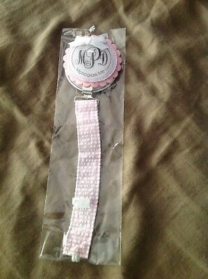 Infant Girls Mudpie Monogram Pink Seersucker Pacifier Clip New Shower Gift