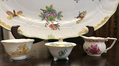 Herend Chinese Bouquet Pitcher, Bowl & Covered Sugar