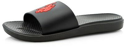 U.S. Polo Assn. Men's Logo Black with Red Logo Slide Sandals