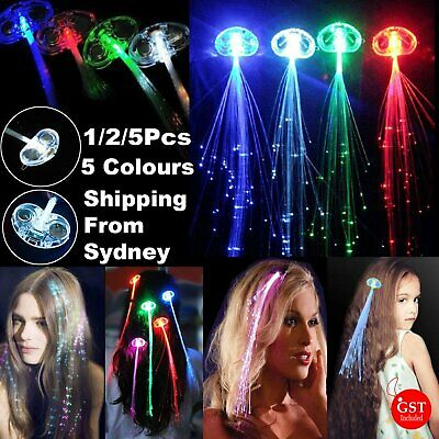 1-5x LED Hair Clip Flashing Multicolour on Braid Decoration Light Up Glow Party