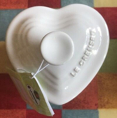 New Le Creuset 13cm White Heart Shape Ramekin with Lid RRP £19