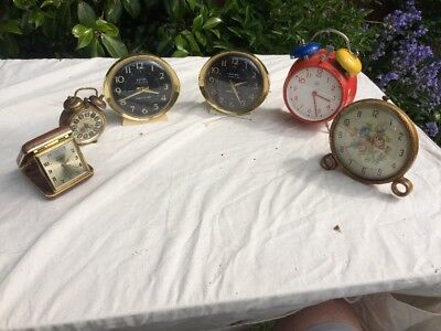 Job Lot Of Vintage Alarm Clocks Some Working And Spares Or Repairs.