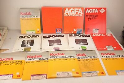 Vintage Lot 500 Sheets Kodak Ilford and AGFA Professional Photography Paper 8x10