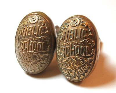 Antique Vintage Pair of New York City NYC Public School Brass Door Knobs Set