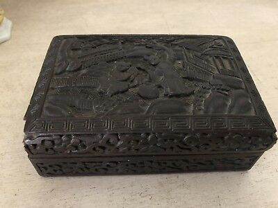 Early Antique Chinese Cinnabar Black Brown Lacquer Carved Box Vintage China