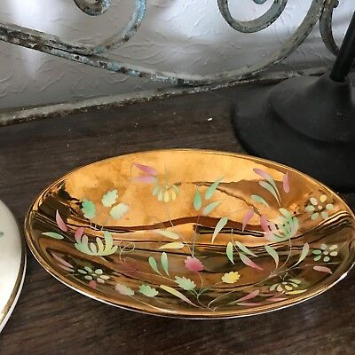 Rare Antique Wade England Lusterware Bon Bon Candy Pastel Floral Bowl Lovely