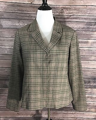 Mimi Maternity Blazer Womens Size Large Plaid Brown Pink Career Business Jacket