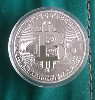 1Pc Silver Plated Bitcoin, Coin Art Collection, Gift